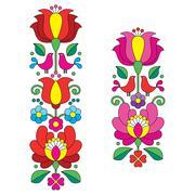 Kalocsai embroidery - Hungarian floral folk art long patterns Stock Illustration