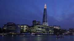 4K Tracking Shard Tower in London by Night, Ships, Boats Cruise in Evening Stock Footage