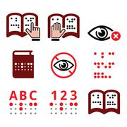 Blind people, Braille writing system icon set Stock Illustration