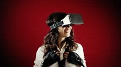 Virtual reality girl calling boyfriend emotions Stock Footage