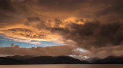 Sunset Timelapse at a Jetty by Lake Te Anau. Stock Footage