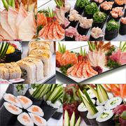 Assorted delicious sushi rolls and fish collage - stock photo