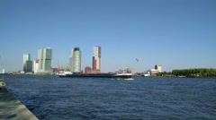 ROTTERDAM skyline Kop van Zuid district + waterfront Stock Footage