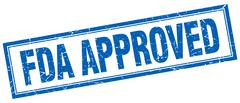 fda approved blue grunge square stamp on white - stock illustration