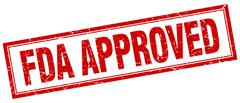 fda approved red grunge square stamp on white - stock illustration