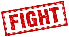fight red grunge square stamp on white - stock illustration