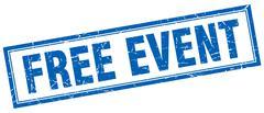 free event blue grunge square stamp on white - stock illustration
