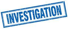 investigation blue grunge square stamp on white - stock illustration