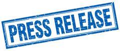 Press release blue grunge square stamp on white Stock Illustration