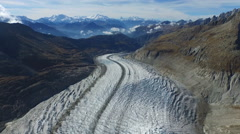 Aerial Footage of Aletsch glacier in the high alps in Switzerland, 4K, UHD Stock Footage