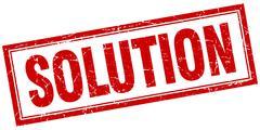 solution red grunge square stamp on white - stock illustration
