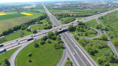 Highway intersection - aerial view - stock footage