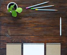 Dark Brown Wooden Desk with Sketchbooks Pencils Plant Stock Photos