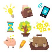 Banking Related Icons Set Stock Illustration