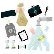 Banking Related Illustrations Set Stock Illustration
