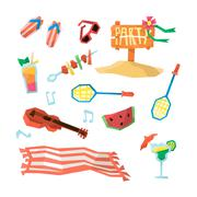 Holidays On The Beach Objects Set - stock illustration