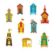 Little Beach Cabins Cute Set - stock illustration