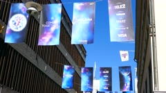 STOCKHOLM, SWEDEN,  Eurovision  Banners in central Stockholm Stock Footage