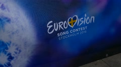 Fans waiting for eurovision 2016 song contest on the village in Stockholm Stock Footage