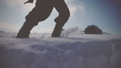 Walking through the deep snow. Vignette color - stock footage