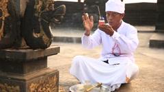 Incense Offering In Uluwatu Temple, Bali, Indonesia Stock Footage