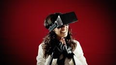 Virtual reality girl calling boyfriend feelings - stock footage