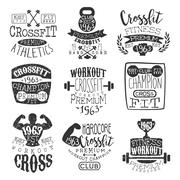 Vintage Gym Fitness Stamp Set Stock Illustration
