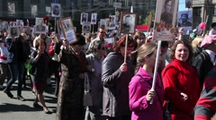 Chelyabinsk, Russia : Procession in honor of veterans of the Secon Stock Footage