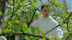 Agricultural worker spraying trees with pesticide Stock Footage