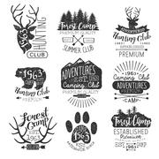 Vintage Forest Stamps Collection - stock illustration