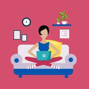 Woman Sitting On Sofa Working Freelance Stock Illustration