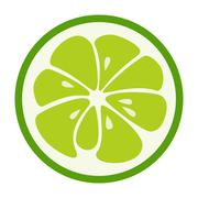 Green lime stylish icon. Juicy fruit logo Stock Illustration