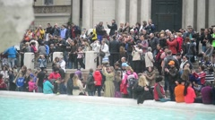 Rome Italy spring - Crowd of people photographing near the Trevi Fountain Stock Footage