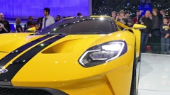 Ford GT, supercar at New York International Auto Show Stock Footage