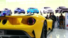 Ford GT supercar, Ford sports car at New York International Auto Show Stock Footage