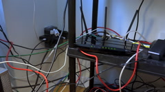 WiFi Router with Flashing Lights - stock footage