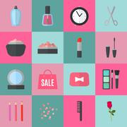 Make up flat icons. illustration Stock Illustration