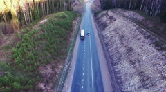 Aerial view of trucks on the road Stock Footage