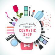 Professional quality cosmetics shop stylish logo - stock illustration
