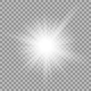 White glowing light burst on transparent background - stock illustration
