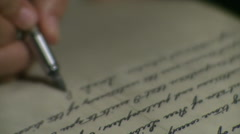 Ancient writer with fountain pen. Stock Footage