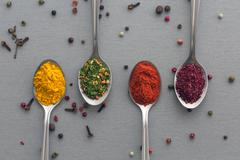 Asian Seasoning on Wooden Background - stock photo