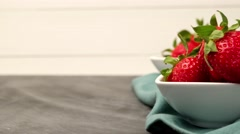 Appetizing strawberry in the bowl - stock footage