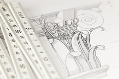 Architectural drawing - detail column & folding ruler Stock Photos