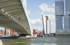 view to Rotterdam city harbour, future architecture concept - stock photo