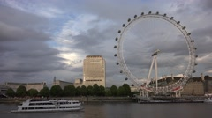 4K London Eye in Sunset, Boats on Thames River, Tourist Traveling England Europe Stock Footage