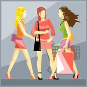 Shopping ladies in red dresses and red and black shoes. Stock Illustration