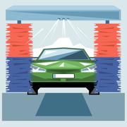 Green car wash at station with jet of water and red and blue cleaners. Stock Illustration