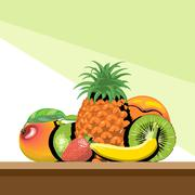 A set of fruits with shadow, pineapple, mango, peach, kiwi, banana. - stock illustration