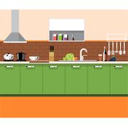 A kitchen plane with green furniture and brown bricks wall with bottles. Stock Illustration